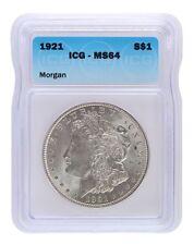 1921 Silver Morgan Dollar ICG MS64 S$1 Lot of 1