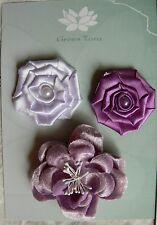 Flowers - 3 LAVENDER LILAC Mixed Designs Pack Fabric 4.5 -6 cm across Green Tara