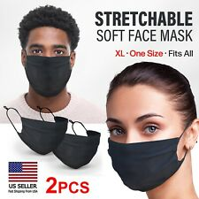 2 Pc Xl Black Face Mask Washable Reusable Cotton Double Layer Unisex