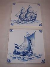 "West Raven Nautical Tile 5"" square Norwegian Ships made in Holland Vintage"
