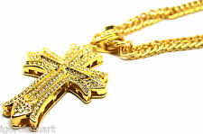 Mens 18K Gold Filled Iced Out Long Chain Necklace Large Cross Crucifix Pendant