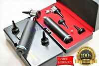 NEW! ENT OTOSCOPE KIT/SET LED OTOSCOPE 3.5v + BULB + SPECULA W/HARD CASE BLACK