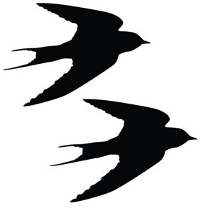 Qty 2 Bird Swallow Stickers, Anti Bird Strike Window Decal Pack JJ Any Colour