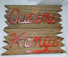 Vintage Wooden Kings and Queens Bathroom Restroom Beach Signs