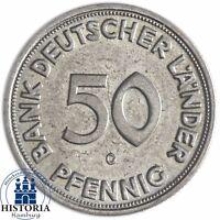 BDL Deutschland 50 Pfennig Bank Deutscher Länder 1950 bfr Mzz G Karlsruhe