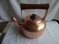 Vintage Copper Kettle with Wood & Brass Handle Height 21 cm x 23 cm