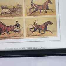 Currier & Ives Print Uncut Sheet Of Trotter Cards Horses Frame 12x15