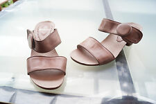 MADELEINE Damen Sommer Schuhe Sandalen Clogs Klett Absatz Gr.39 Leder beige #2k