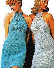 Vintage CROCHET PATTERN Ladies Dress Halter Hippy Boho 8 ply 10 12 14 16 18 COPY