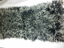Real Genuine Mongolian Tibet Dyed Black 2 tone Lamb Fur Rug  PlateThrow New Wool