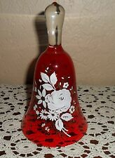 Rare Stunning Vintage Ruby Red Glass Bell, Hand Painted Shabby Roses