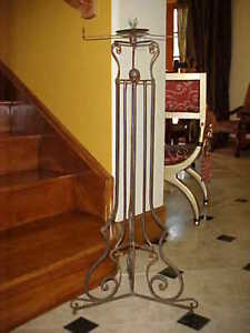 HOLLYWOOD REGENCY FRENCH IRON HEAVY OLD TALL PEDESTAL
