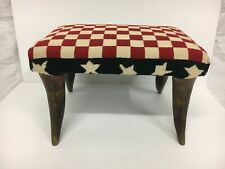 "American Flag Theme Needlepoint Footstool, Horn Legs 8"" H X 9"" W X 14"""
