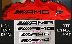 AMG BRAKE CALIPER DECAL HIGH TEMP (12.5cm & 10cm) Black Straight Sticker Set x4