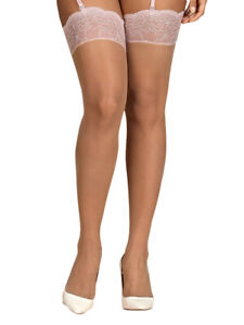 Obsessive Girlly Stockings Sexy Sheer Lace Soft Elasticated Hold Ups - Pink