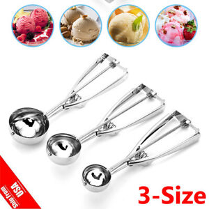 Ice Cream Scoop Easy Trigger Stainless Steel Cookie Water Melon Dough Spoon S-L