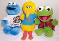 Vintage Playskool Big Bird,Cookie Monster,Kermit Sesame Street Muppets Plush