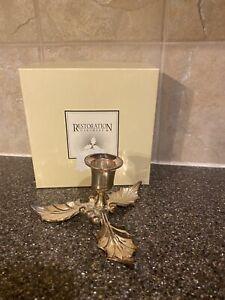 Restoration Hardware HOLLY Leaf Candle Stick Holder With Box