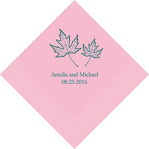 300 Fall Leaf Personalized Wedding Cocktail Napkins