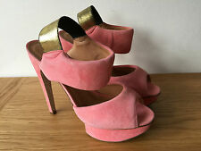 Kurt gieger Ladies Hot Rosa in Pelle Scamosciata Peep Toe Sling Back Tacchi Alti UK6 EUR39