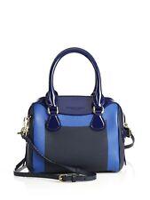 100% AUTH NEW BURBERRY MINI BEE BLUE COLOR BLOCK PEBBLED & PATENT BAG/HANDBAG
