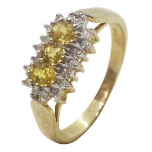 9ct Yellow Gold Oval Yellow Sapphire Trilogy Three Stone & Diamonds Dress Ring