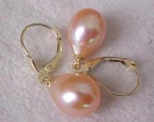 AAA 9-11MM real natural south sea pink drop pearl earrings 14K YELLOW GOLD