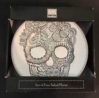 "222 Fifth Skull Lace 8-3/4"" Salad Plates Set of 4 Halloween"