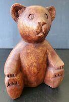 Vintage Hand Carved Wood Brown Bear Sculpture Figurine Folk Art Hunting Cabin