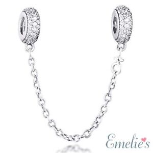 Sparkling Pave Unique Safety Chain for Charm Bracelet. 925 Sterling Silver