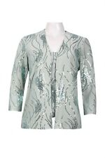NWT Alex Evenings Sleeveless Sequin Jersey Top and Open Front Jacket S