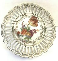 A.C.S. Bavaria Reticulated Bowl Trinket Dish Floral Scalloped Gold Trim Edge