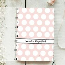 Personalised Recipe Book Large Pink Spot. Perfect Present for any food lover.