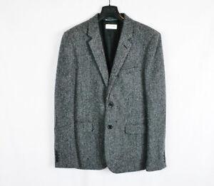 SAINT LAURENT PARIS Grey Leather Elbow Herringbone Wool Tweed Blazer New 52 54