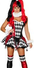 Sexy Harley Quinn Circus Clown Jokers Women Costume w/Bell for Cosplay Halloween