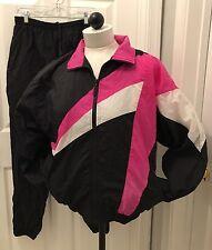 VINTAGE PUMA Track suit jacket and pants set Women SZ Med Pink Black 80's 90's