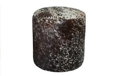 Cowhide Pouf Ottoman Round Color Salt and Pepper Brown, TOP Quality