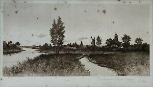 GRAVURE PAYSAGE HOLLANDAIS MOULIN MEADOW LAND PAR GEORGE W BOHDE H3213
