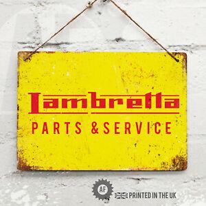 Lambretta Parts & Service Metal Wall Sign Pub Bar Home Mancave Garage Scooter