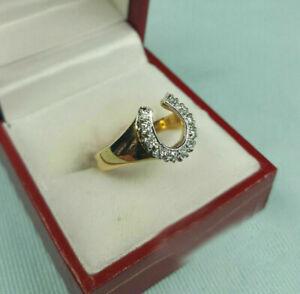 0.30 Ctw Diamond Horseshoe 14k Yellow Gold Over Men's or Ladies Designer Ring