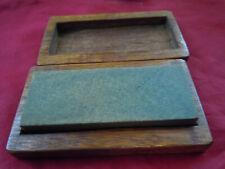 Antique Whetstone Primitive Sharpening Stone, Fine  m, Grit, Walnut Wood Case