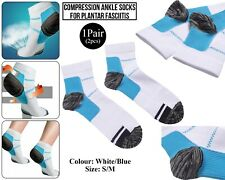 Compression Socks Planter Fasciitis Heel Ankle Support Foot Arch Pain White/Bleu