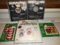 2 VTG Dimensions Pin Kits + 2 BUCILLA GREAT SHAPES  + JIFFY NEEDLEPOINT SANTA