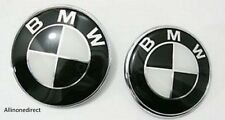 2x BMW Black/White Emblem 82mm+74mm Bonnet/Boot Badge E30 E36 E46 3 5 7 Series