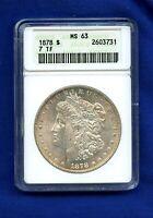 1878 P 7TF ANACS MS63 Morgan Silver Dollar $1 Rare 1878-P MS-63 Soap Box