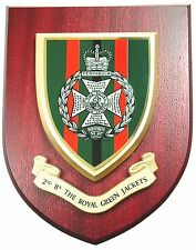 2ND BTN ROYAL GREEN JACKETS CLASSIC HAND MADE IN UK REGIMENTAL MESS PLAQUE