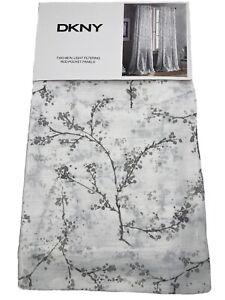 NEW DKNY Gray Floral Promenade Rod Pocket Window Curtains Cotton 50x96 2PC