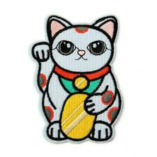 "CUTE MANEKI NEKO IRON ON PATCH 3"" Embroidered Applique Lucky Fortune Money Cat"