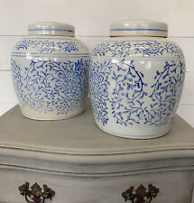More details for vintage pair of blue and white  ginger jars with lids