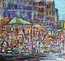 Modern Mixta Original Pintura Abstracta semi-una calle de mercado de Londres.